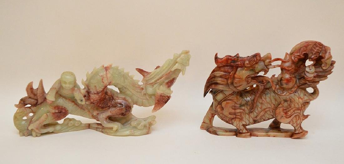 2 Chinese soapstone carvings of Dragons,