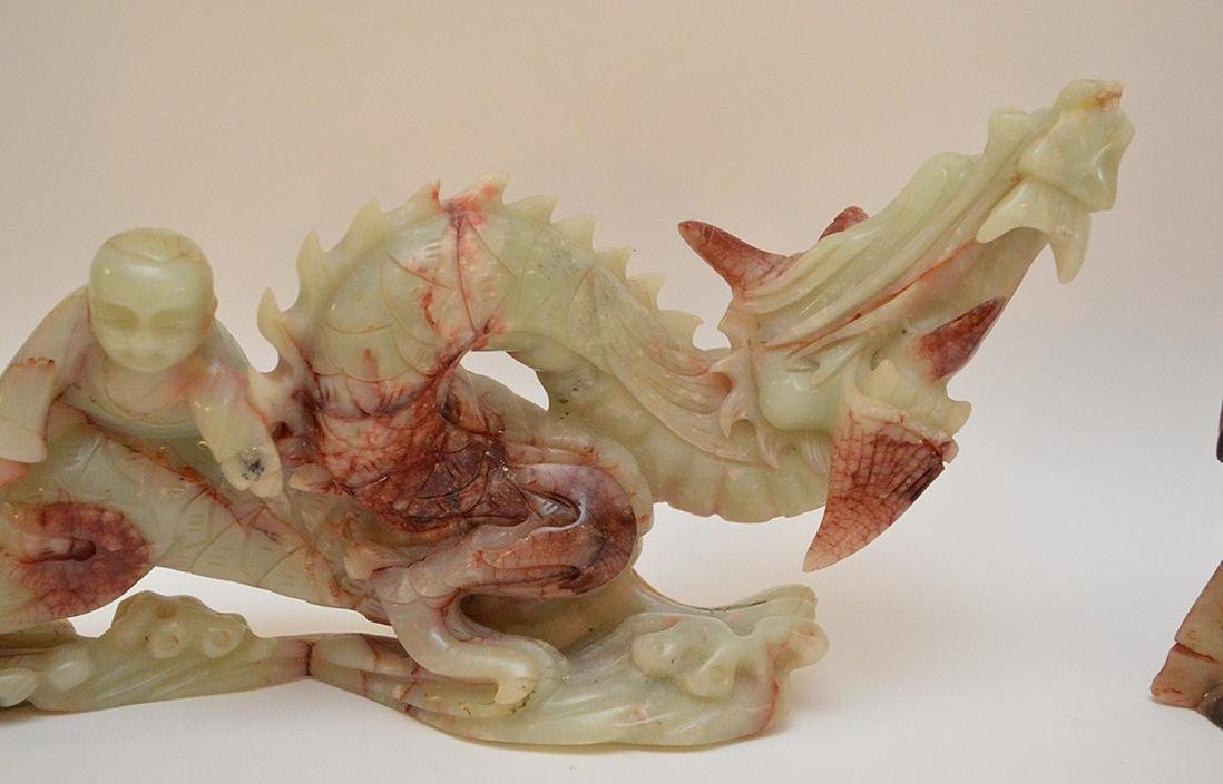 2 Chinese soapstone carvings of Dragons, - 5
