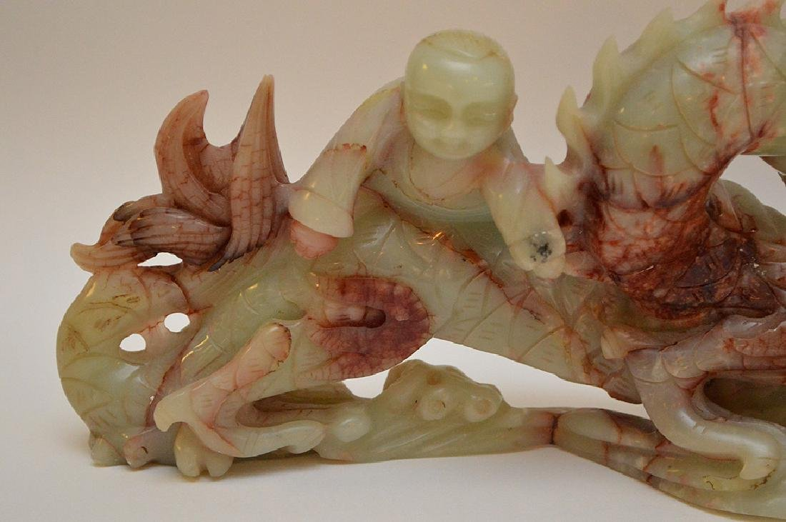 2 Chinese soapstone carvings of Dragons, - 6