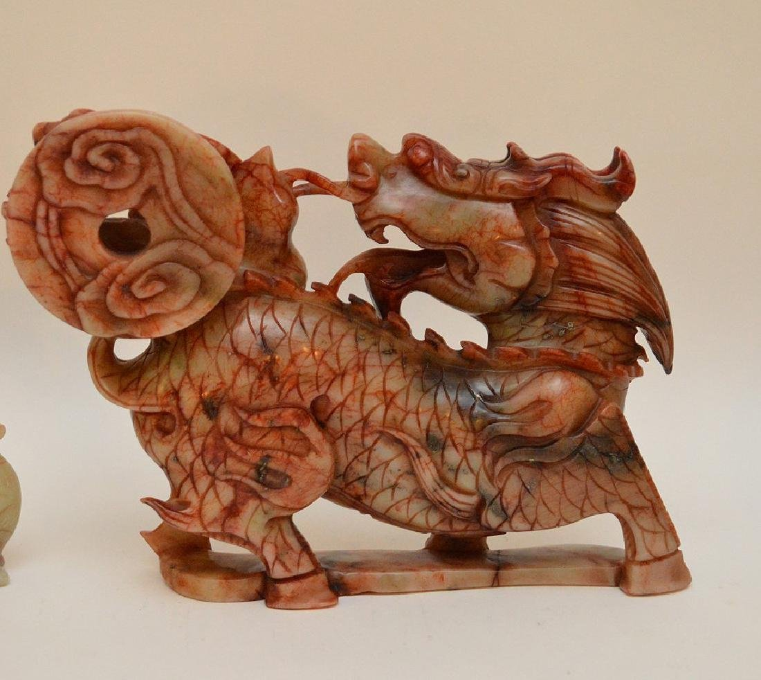 2 Chinese soapstone carvings of Dragons, - 7