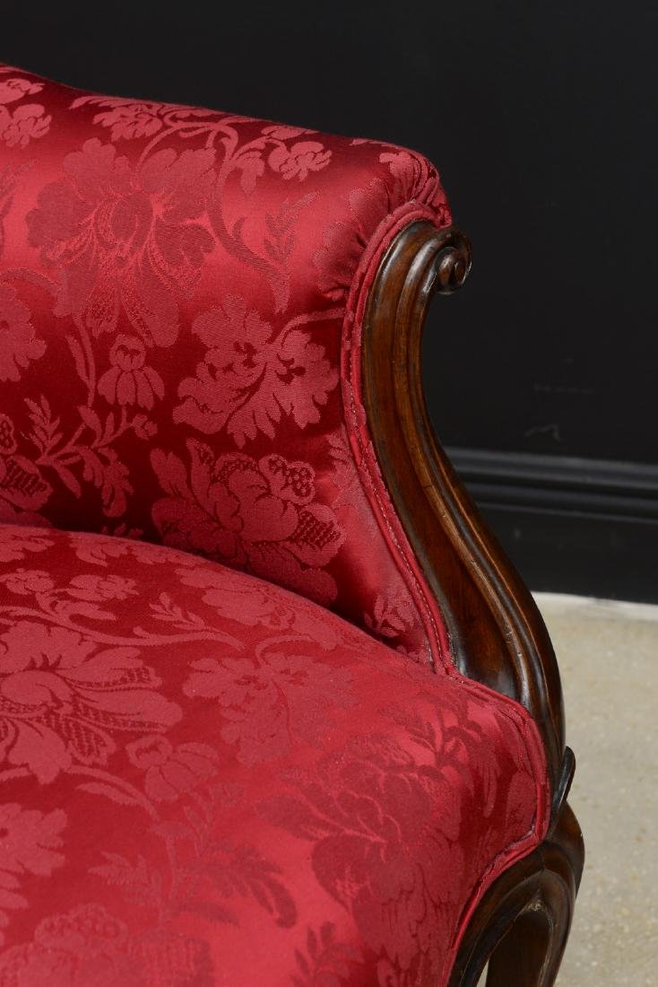 Pair Victorian carved arm chairs with maroon color - 10