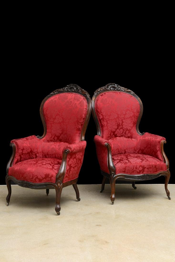 Pair Victorian carved arm chairs with maroon color