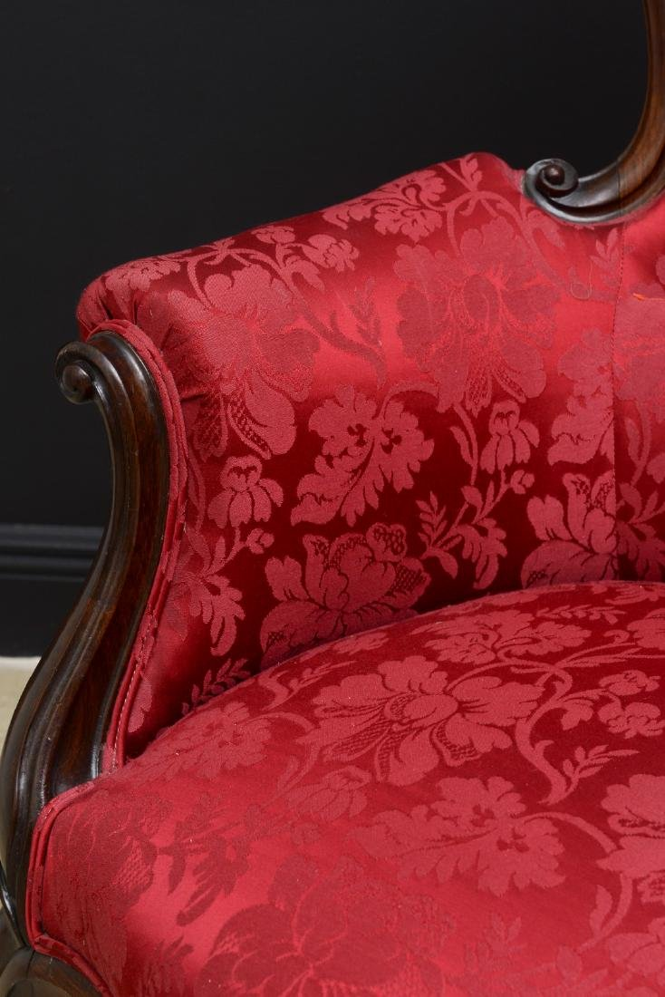 Pair Victorian carved arm chairs with maroon color - 2