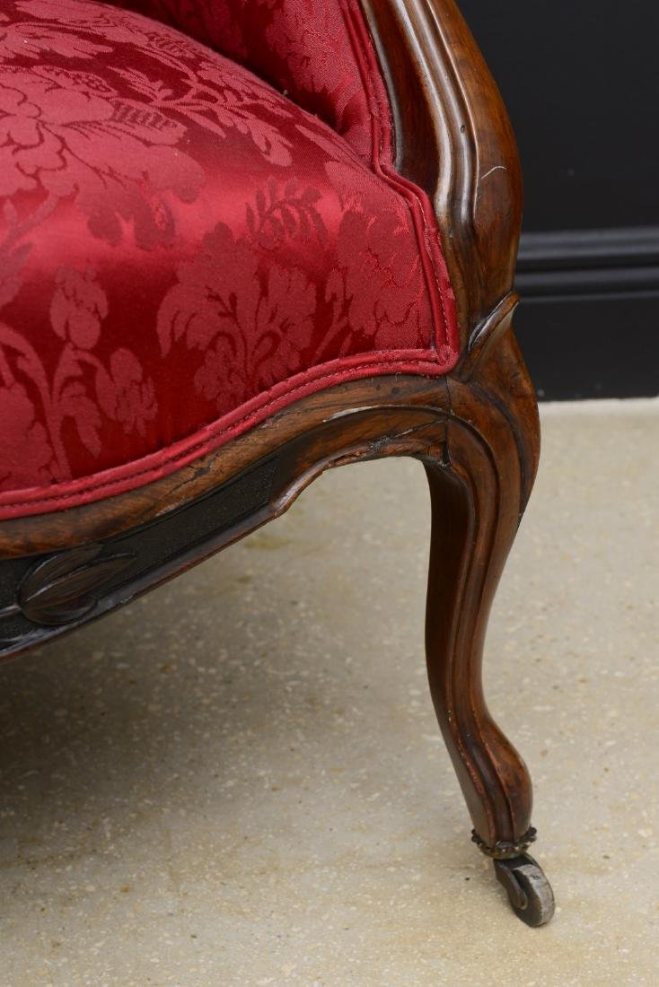 Pair Victorian carved arm chairs with maroon color - 3