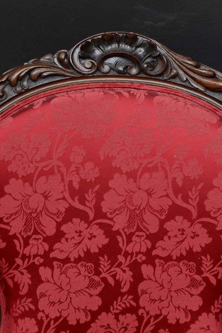 Pair Victorian carved arm chairs with maroon color - 4