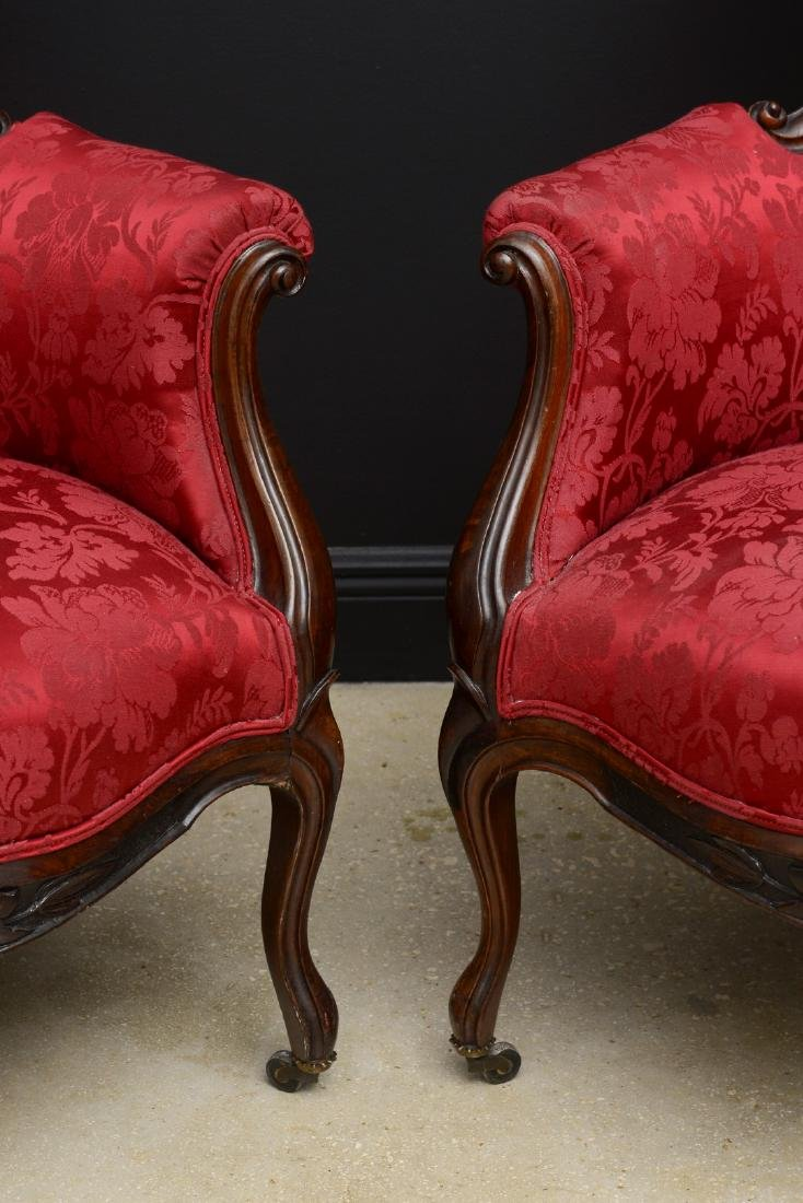 Pair Victorian carved arm chairs with maroon color - 5