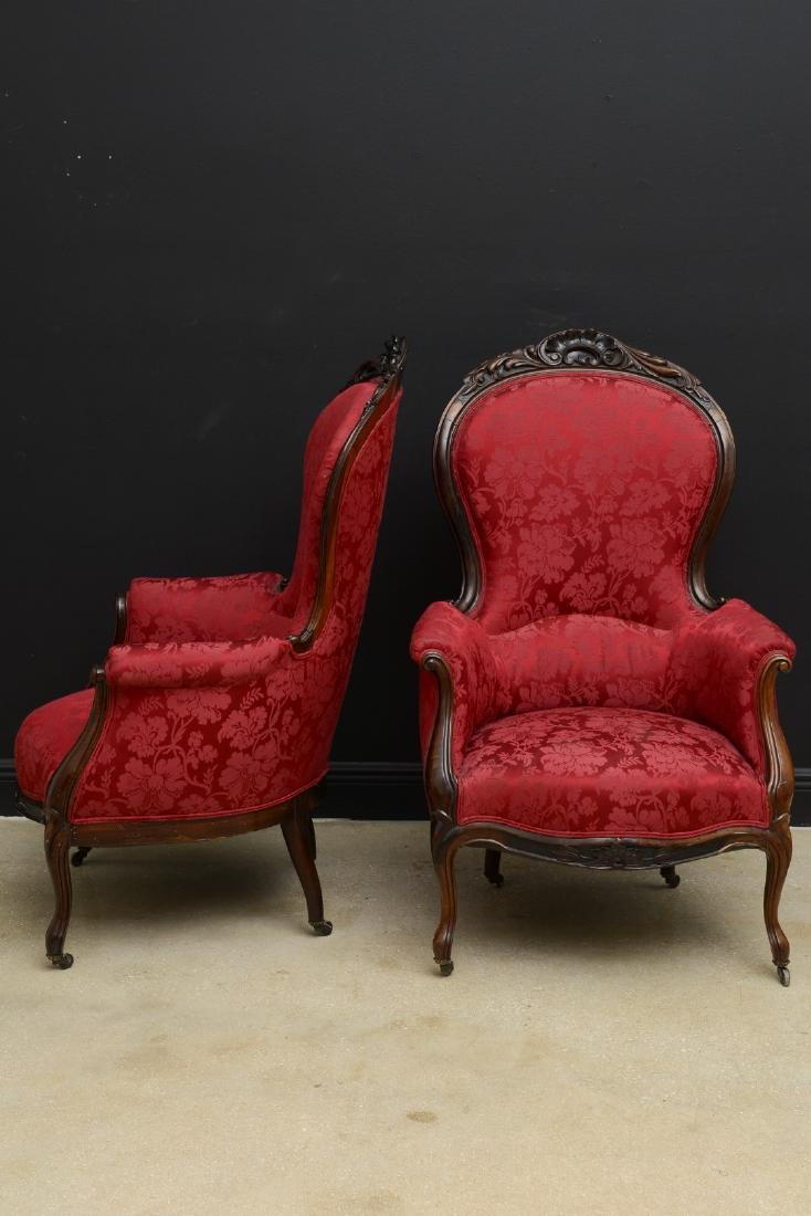 Pair Victorian carved arm chairs with maroon color - 7