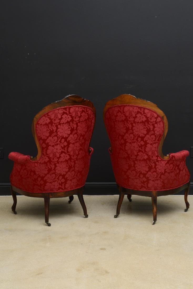Pair Victorian carved arm chairs with maroon color - 8