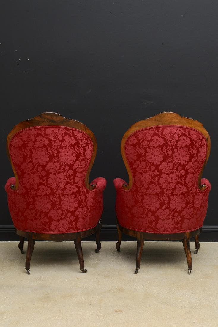 Pair Victorian carved arm chairs with maroon color - 9