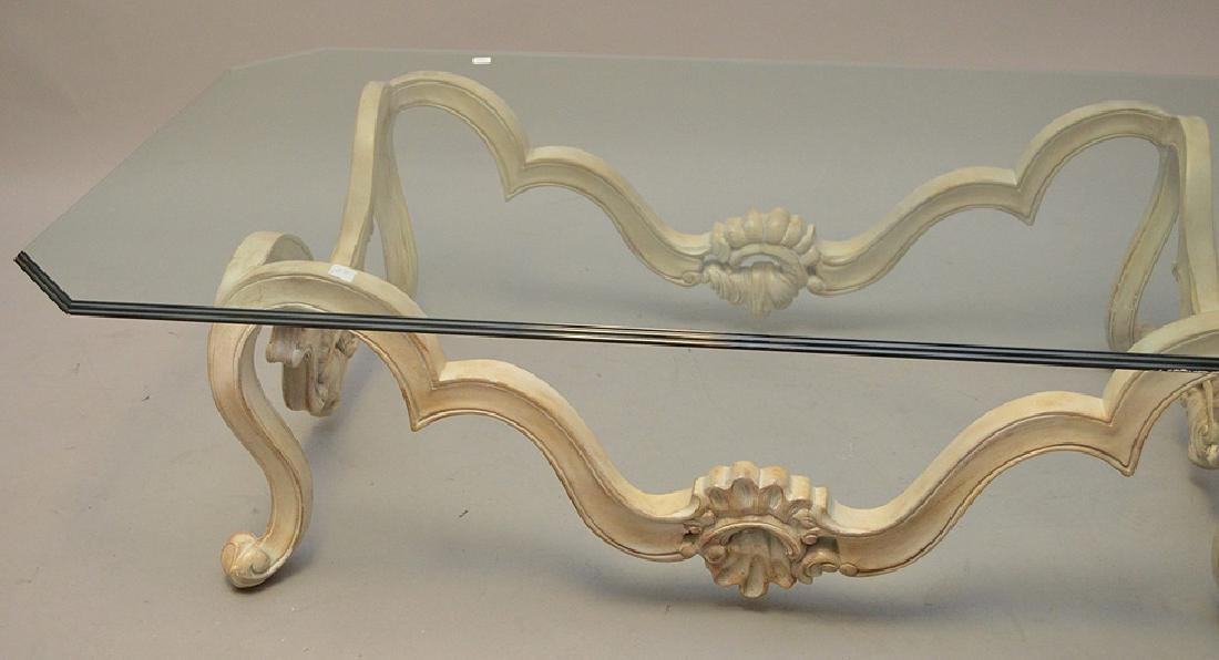 White washed French style coffee table with glass top - 2