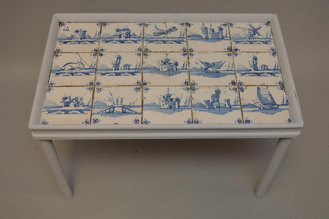 Delft tile table, 18th c. tiles in mid century table