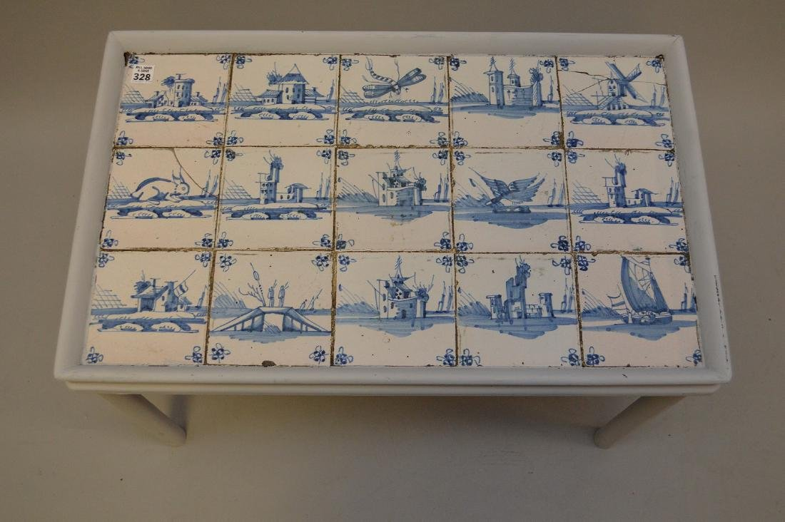 Delft tile table, 18th c. tiles in mid century table - 2