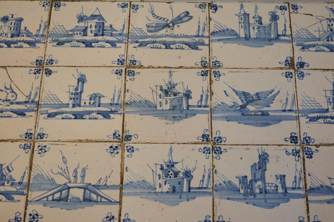 Delft tile table, 18th c. tiles in mid century table - 3