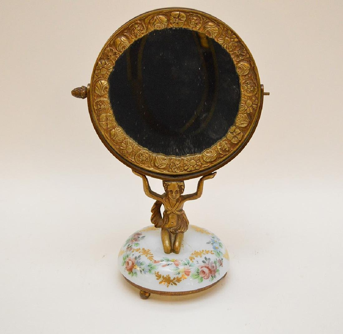 Bronze vanity mirror with hand painted glass base, girl