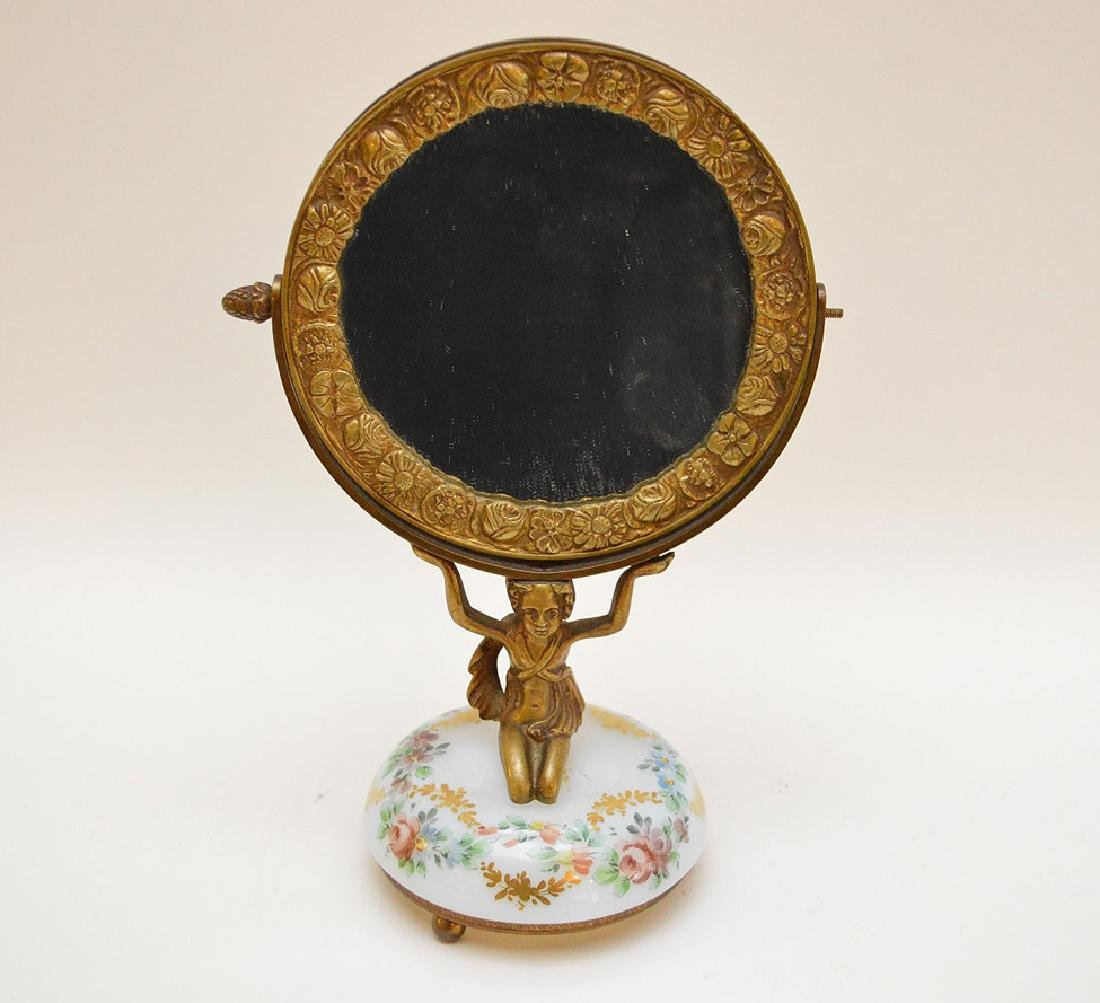 Bronze vanity mirror with hand painted glass base, girl - 2