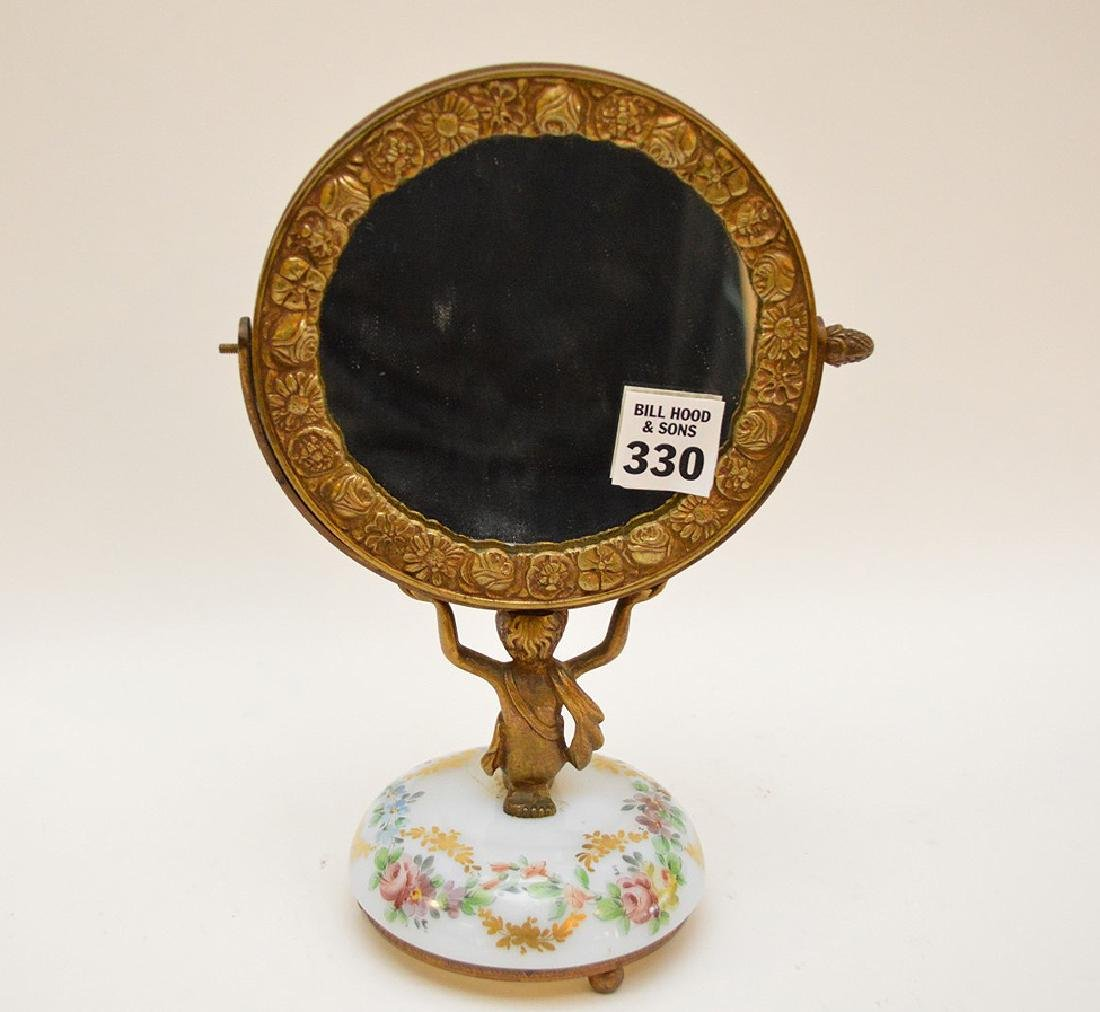 Bronze vanity mirror with hand painted glass base, girl - 4