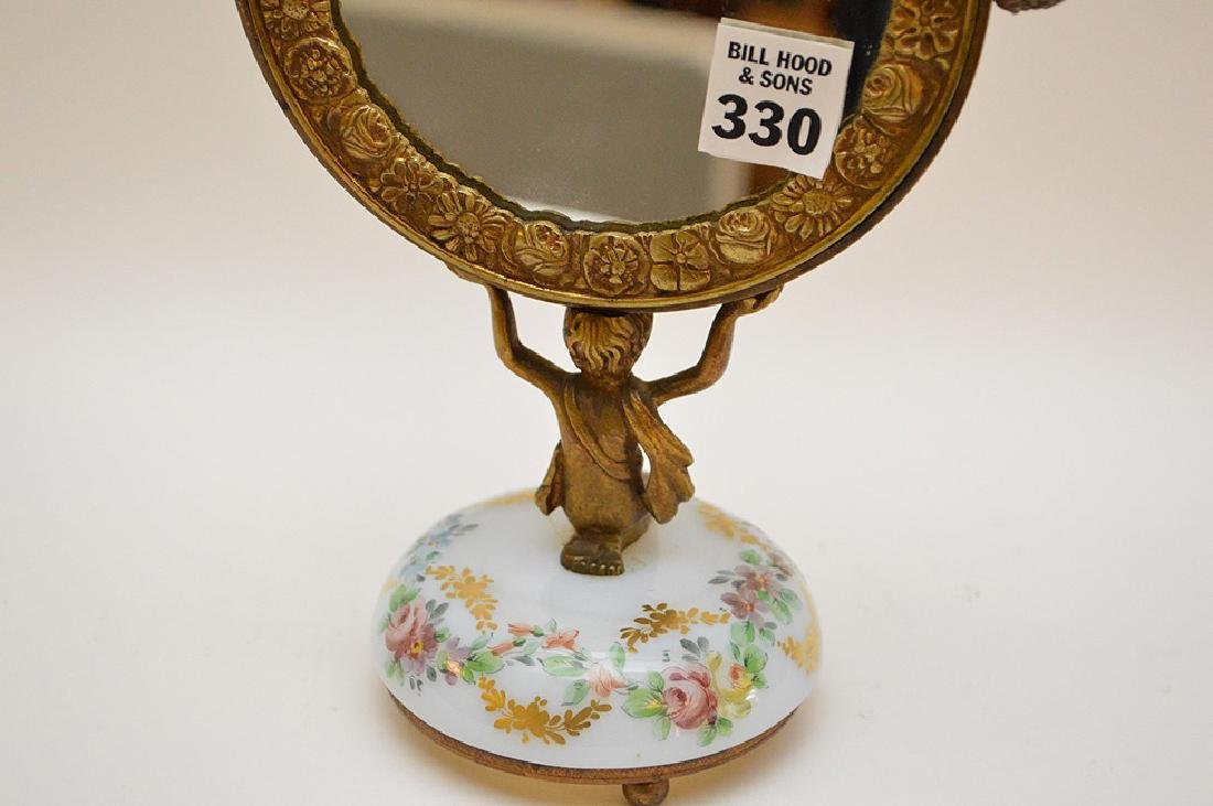 Bronze vanity mirror with hand painted glass base, girl - 5
