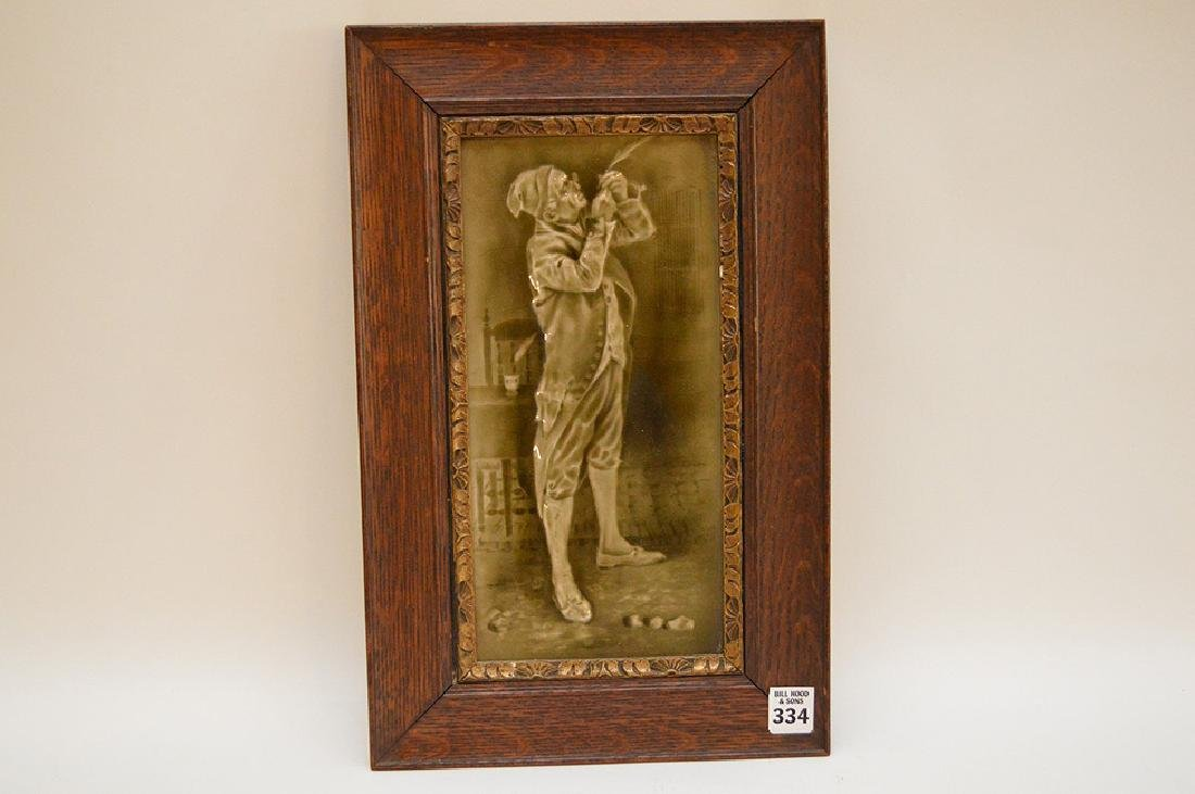 Late 19th c. English framed tile of Victorian Gent