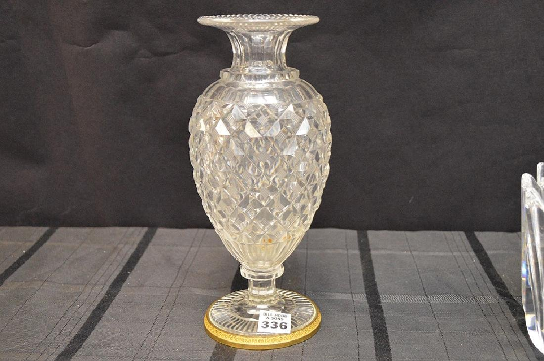 Antique French Hand-Cut Crystal Vase Pineapple Pattern