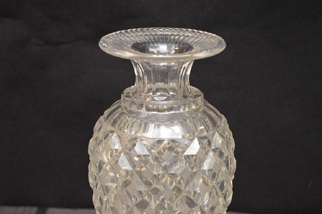 Antique French Hand-Cut Crystal Vase Pineapple Pattern - 2