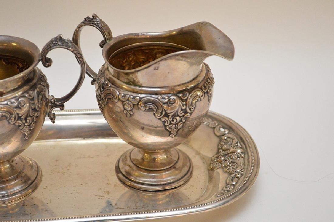 Sterling sugar & creamer with tray, 15ozt - 2