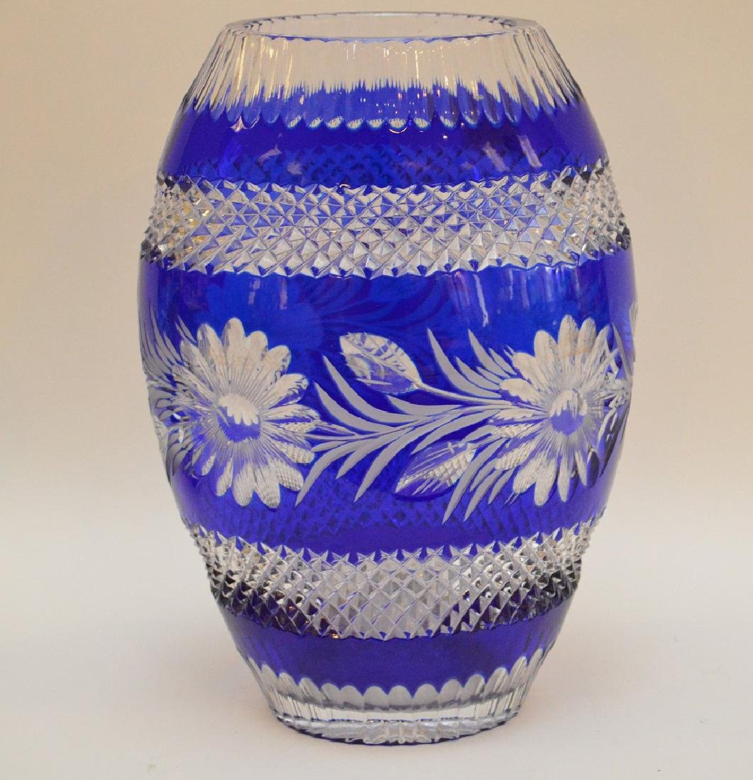 """Blue cut to clear crystal vase, 10 1/2""""h"""