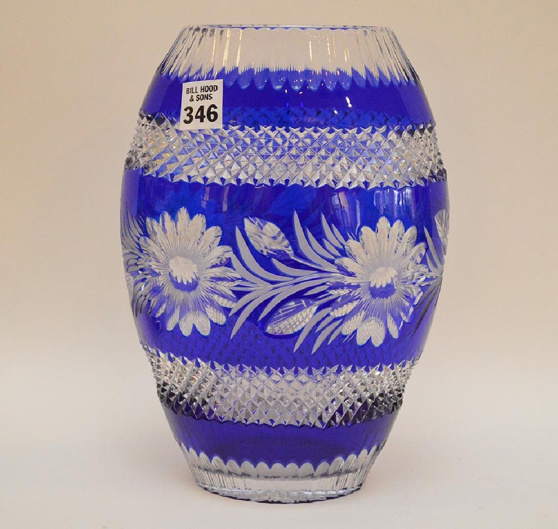"""Blue cut to clear crystal vase, 10 1/2""""h - 2"""