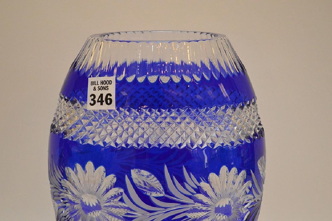 """Blue cut to clear crystal vase, 10 1/2""""h - 3"""