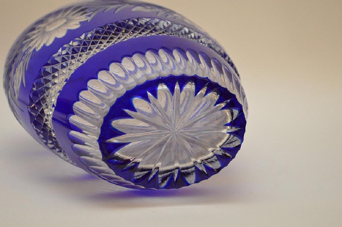"""Blue cut to clear crystal vase, 10 1/2""""h - 4"""