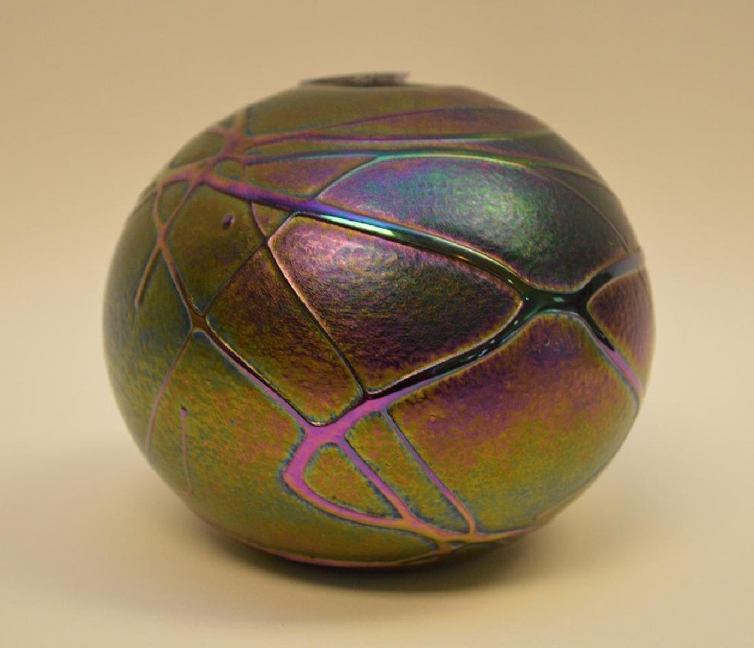 """Art glass """"eyeball"""" vase, 4""""h"""