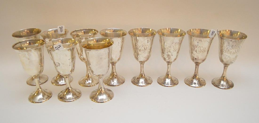 11 sterling (Towle & Gorham) footed goblets, 66ozt