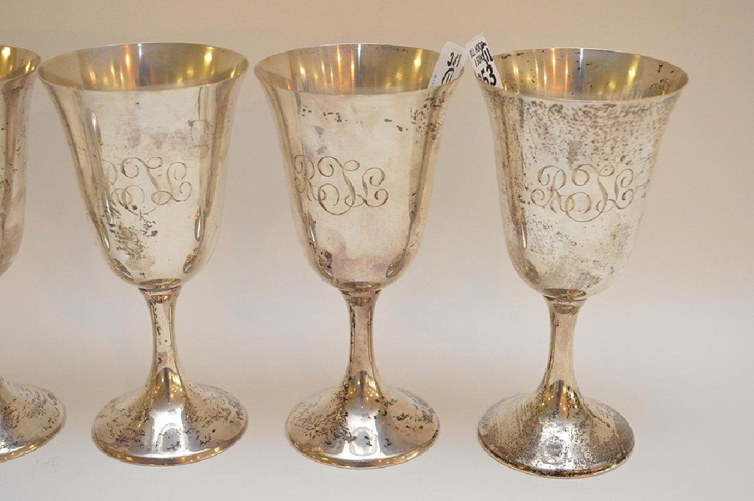 11 sterling (Towle & Gorham) footed goblets, 66ozt - 2