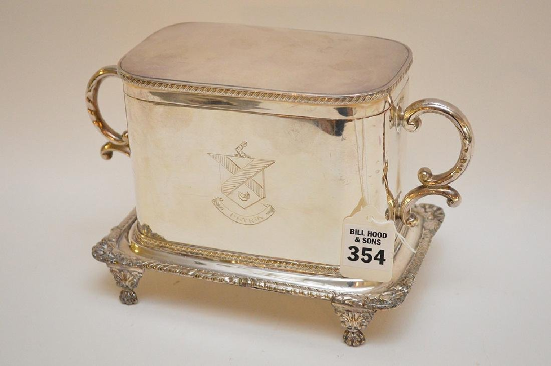 Silver plated English biscuit box