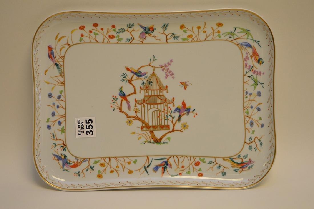 "Limoges tray, Tiffany Audubon charger, 8"" x 10"""
