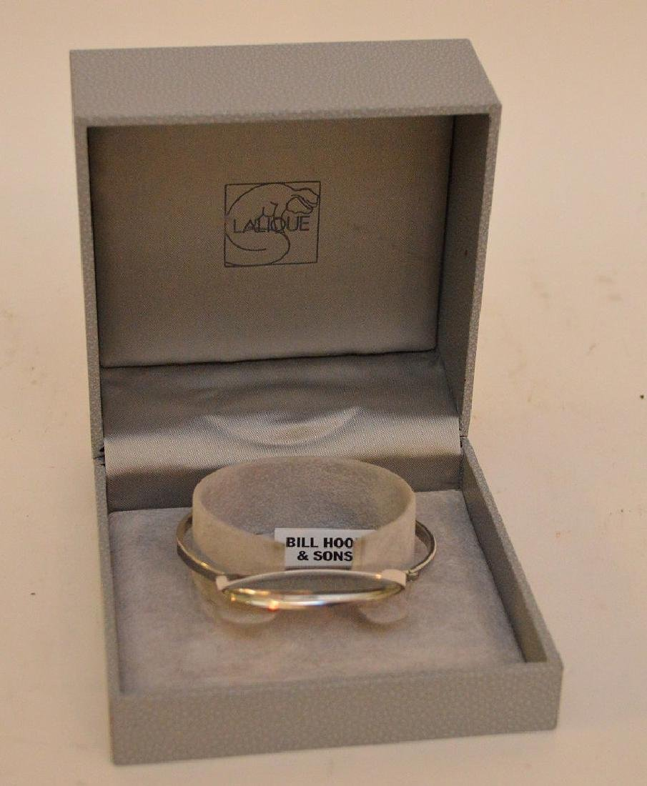 Lalique sterling & crystal bangle in box