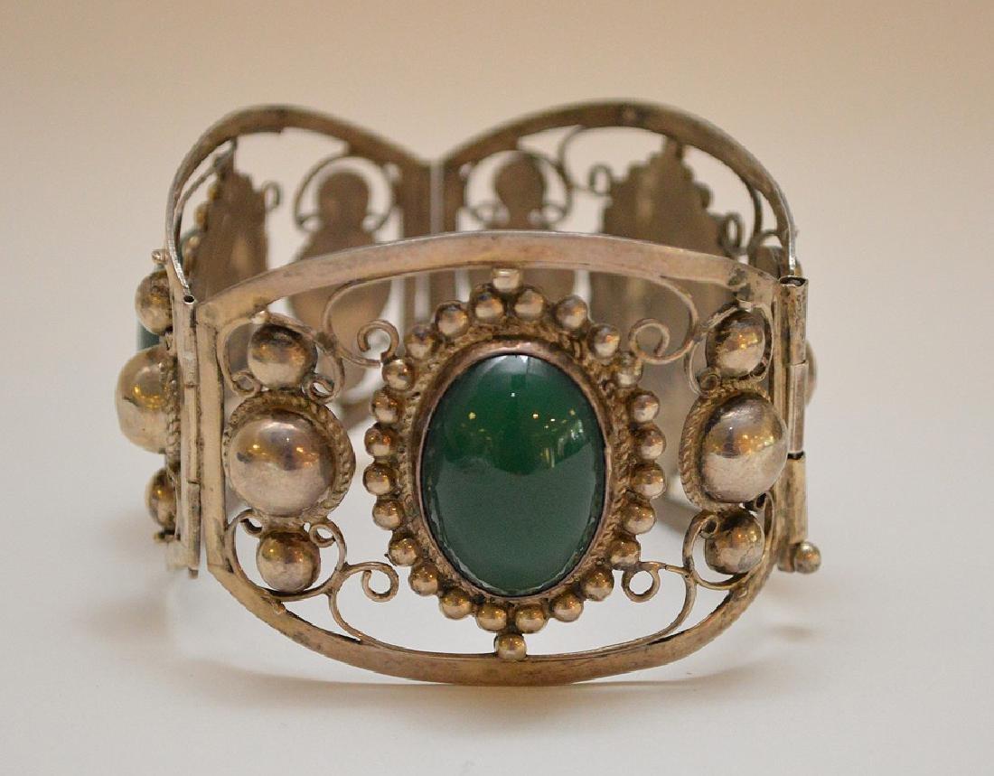 Mexican sterling silver & green onyx bracelet