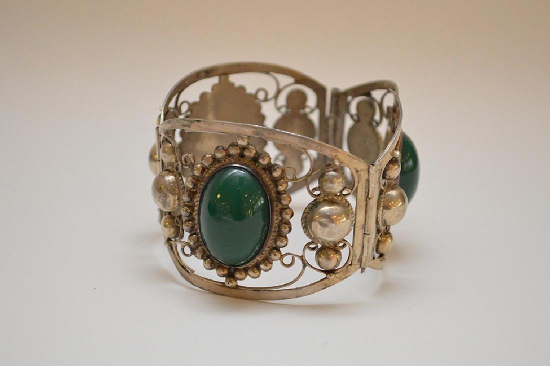 Mexican sterling silver & green onyx bracelet - 2