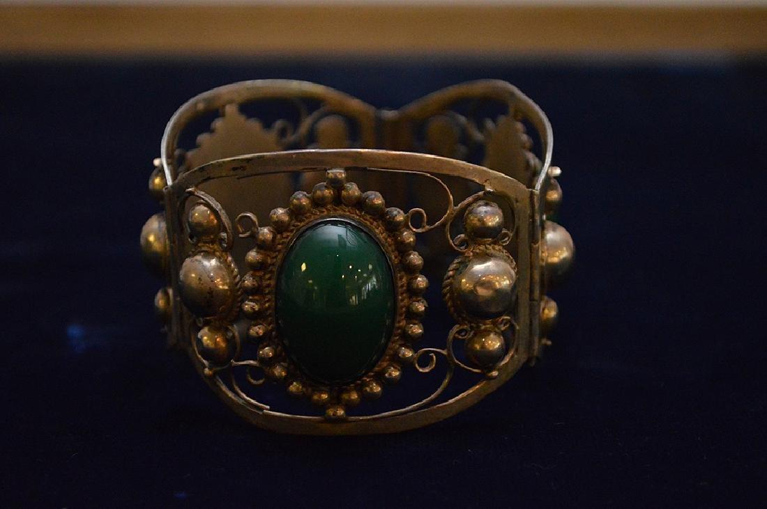 Mexican sterling silver & green onyx bracelet - 3