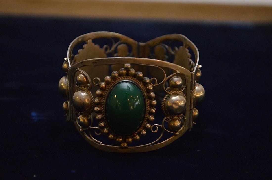 Mexican sterling silver & green onyx bracelet - 4