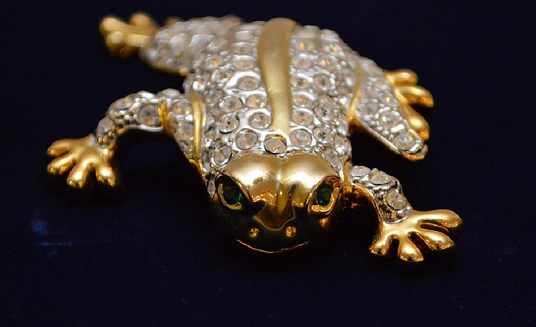 "Large jeweled Frog brooch, 4 1/2"" x 3"" - 2"