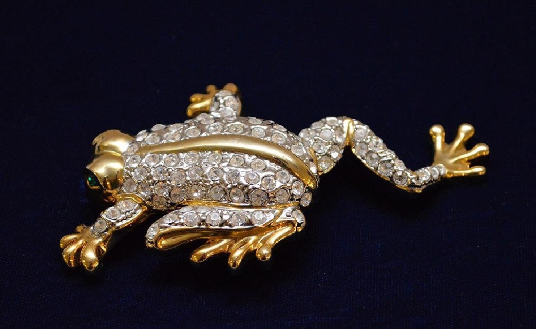 "Large jeweled Frog brooch, 4 1/2"" x 3"" - 3"