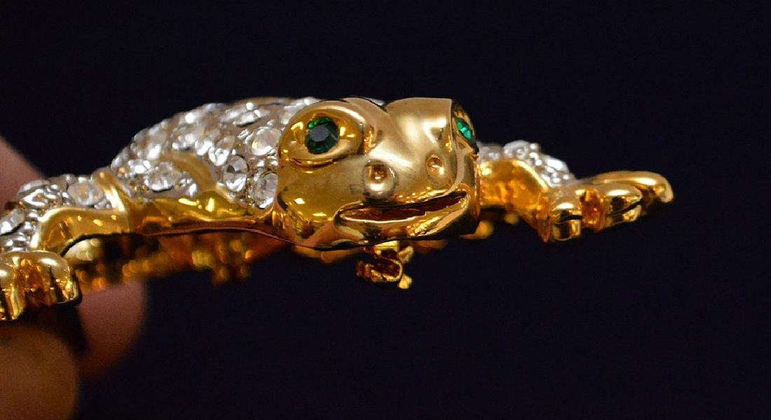 "Large jeweled Frog brooch, 4 1/2"" x 3"" - 4"