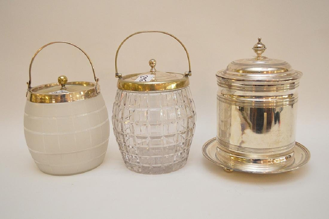 3 biscuit jars, one frosted glass with silver plate