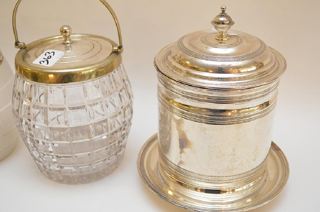 3 biscuit jars, one frosted glass with silver plate - 2