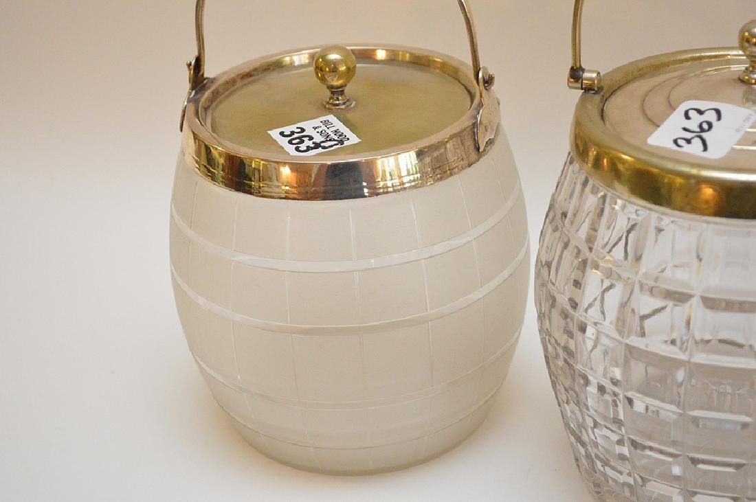 3 biscuit jars, one frosted glass with silver plate - 3