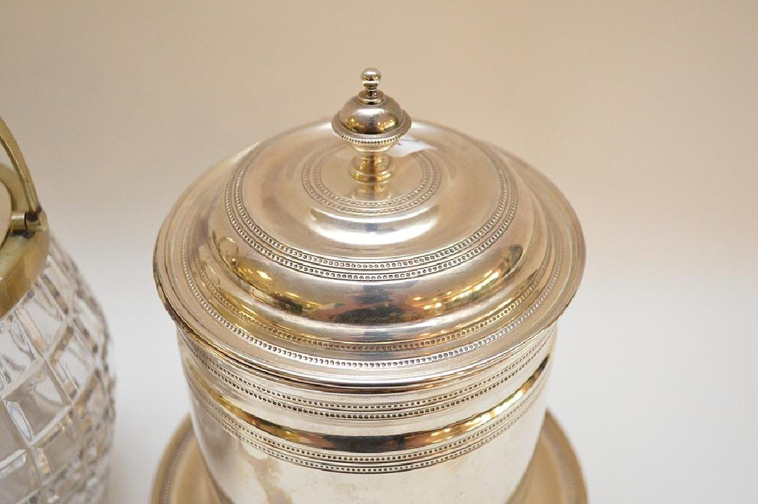 3 biscuit jars, one frosted glass with silver plate - 4