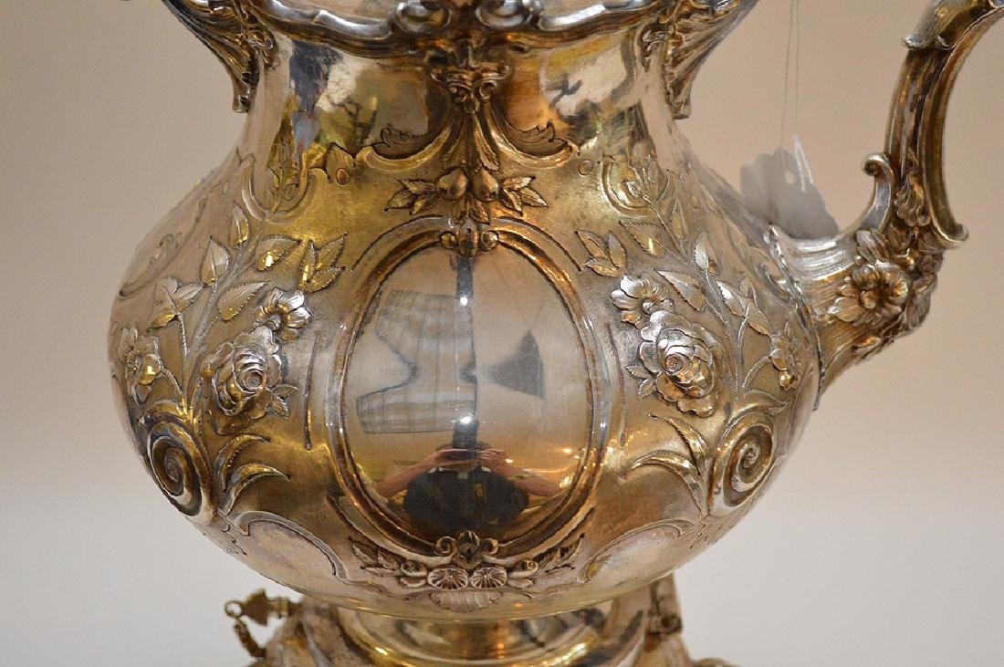 """Silver plate ornate large water/tea urn, 19""""h - 10"""