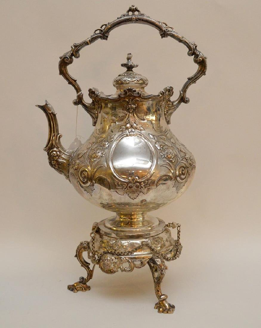 """Silver plate ornate large water/tea urn, 19""""h"""