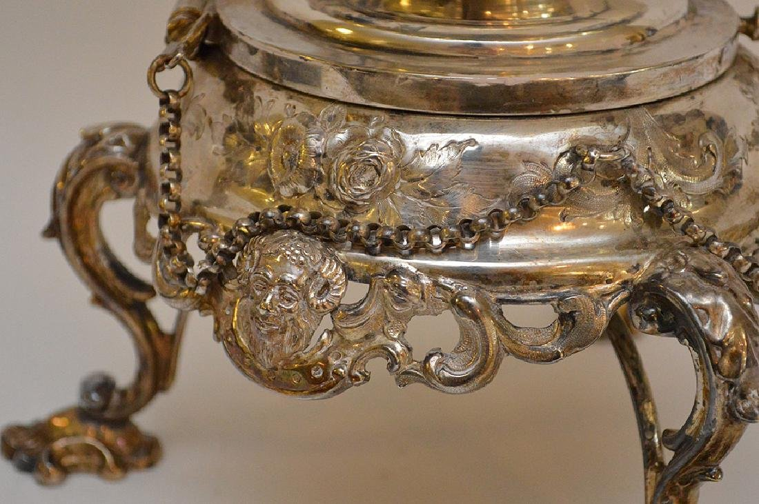 """Silver plate ornate large water/tea urn, 19""""h - 4"""