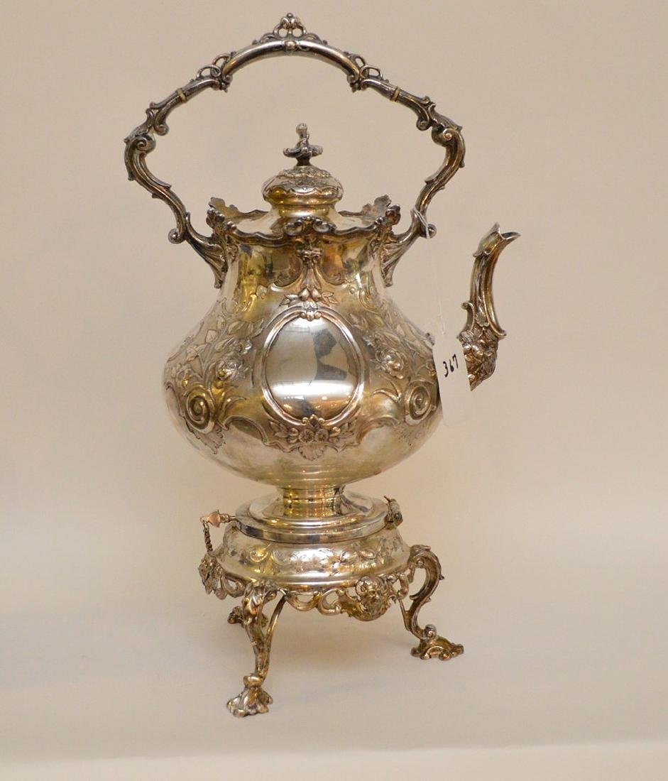 """Silver plate ornate large water/tea urn, 19""""h - 6"""